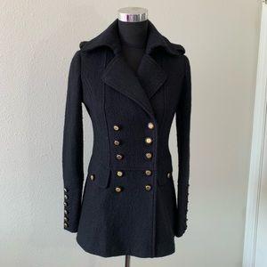 Cache Wool Military Coat Jacket Black Gold